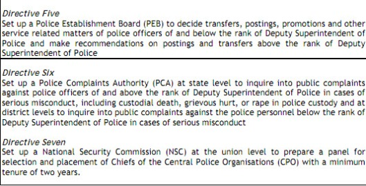 police reforms in india, seven SC directives to states on police reforms, SC order on police reforms